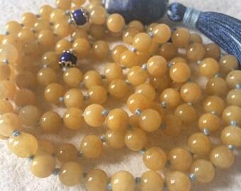 Genuine Nephrite Yellow Jade Mala Necklace, 108 Mala Beads, Lapis Lazuli, Meditation Mala Beads, Yoga Jewelry, Buddhist Mala Prayer Beads
