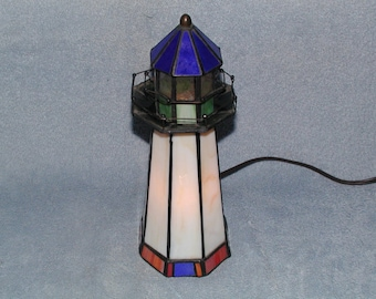Stained Glass Lighthouse - Accent Lamp - Nightlight