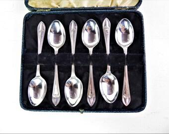Silver plated teaspoons, set of six, antique  art nouveau tea spoons, boxed, EPNS