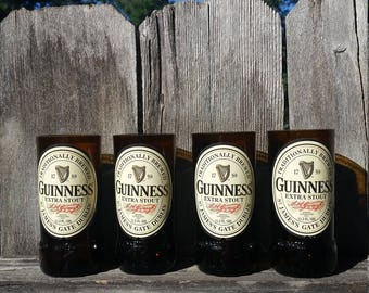Set of 4 upcycled Giunness Stout glasses