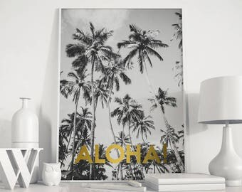 Palm tree print, Aloha print, Palm tree poster, palm leaf, aloha beaches, Beach Wall Art, Palm Tree Prints, Hawaii print, Hawaii poster,