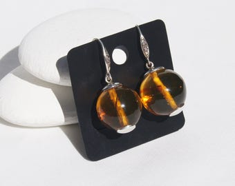 Amber Bead Earrings, Original And Genuine Dominican Yellow And Reddish Amber Beads 925, Sterling Silver Hooks Pair Of Earrings Jewelry
