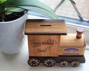 Wooden moneybox, Childrens wooden money box, personalised money box, train money box, christening gift, wooden train, train, money box