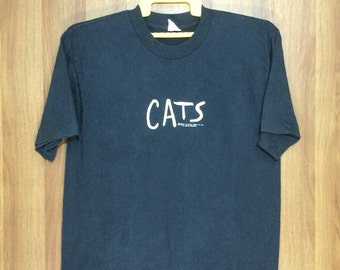 80s Original Vintage 1981 Cats The Musical T-Shirt Andrew Lloyd Adult Medium Size - Polyester Cotton 50/50