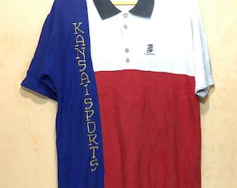 "Rare KANSAI SPORTS Color Block Spell Out Big Logo Polo Shirt Wood Button Hip Hop Chest 22"""