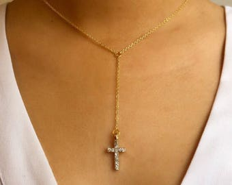 Gold Cross Lariat Necklace