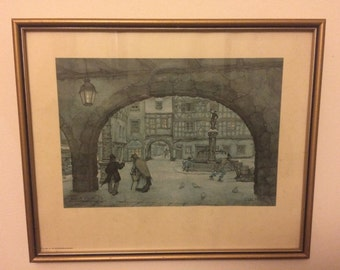 "Anton Pieck ""Colmar"" Town Square Print 1982 - Vintage Painting Print - Holland - Framed - Retro Wall Decor - Darks."