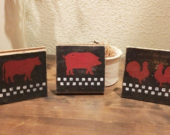 Reclaimed Wood Wall Decor - Pig, Cow, Chicken - Set of 3