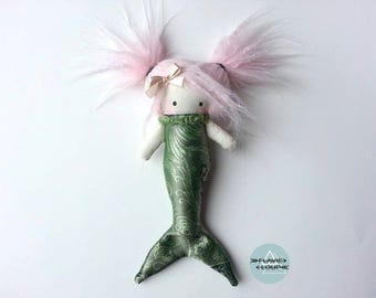Mini Mermaid, rag doll, art doll, plush, model name: Lili with pink hair
