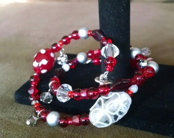 Ohio State Pride beaded wrap around bracelet