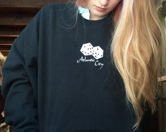 VINTAGE 80s Fuzzy Dice Atlantic City crewneck