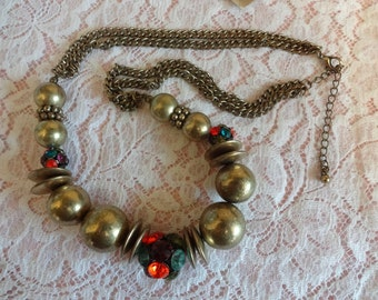 Vintage Bronze Necklace, Boho Necklace, Festival Necklace, Statement Necklace, Gold Bead Necklace