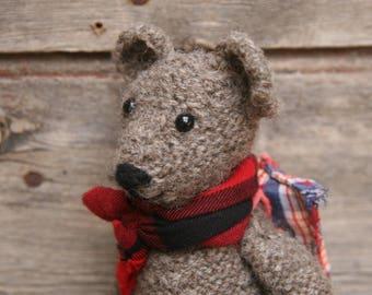 Flora Bear, Knitted Teddy, Girl Bear, Brown Bear, Grey Bear, Teddy Bear, Hiking Bear, Bear with backpack, Backpacking Bear, Hand Knitted,