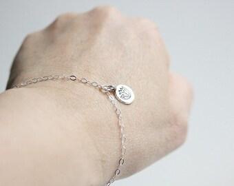 Lotus bracelet - Lotus flower bracelet  - Yoga bracelet- Charm bracelet - Sterling Silver Lotus flower print charm Bracelet -Gift for her