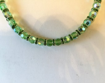 Green Crystal And Rhinestone Beaded Necklace