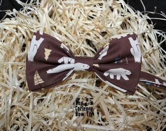 Brown Polar Bear Bow Tie, Wedding Bow Tie, Gift for Him, Gift for Dad,Men's Bow Tie, Boy's Bow Tie, Bow Tie For Men
