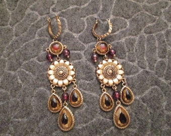 Garnet & Gold Long Dangle Earrings>Vintage New old stock, never worn> Well made Beauties from India