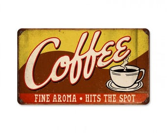 "Metal Sign "" Coffee Kitchen Decor "" 14""x8"" Dia. Man Cave"