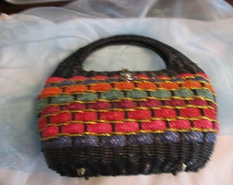 Multicolored Straw Basket Weave Purse with Gold Tone Metal Clasp