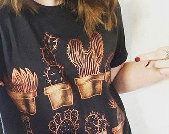 COPPER CACTUS t-shirt. 100% cotton Dark T shirt. Hand painted. Unique t shirts. Nice tees. Copper, Metallic shine, cactus, cacti