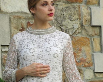 Spectacular White & Silver Beaded Dress - Early 1960s