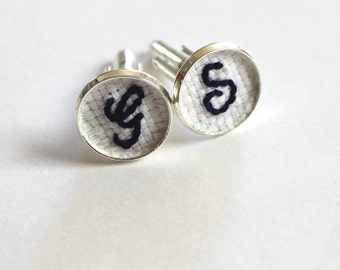 Embroidered Father of the Bride Cuff Links, Father of the Groom Gift, Father of Bride Gift, Groom Custom Initial Cufflinks, Monogrammed Gift