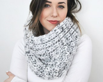 Knit Scarf Chunky Infinity Grey Cowl in Limited Edition Color *Marble* - The Plover Chunky Knitted Cowl