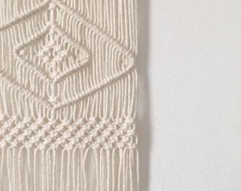 Handmade Macrame Wall Hanging Wall Decor Boho Chic Wall Art Aztec Bohemian Creme Cotton Organic Yarn Tapestry Weave Crochet MADE TO ORDER