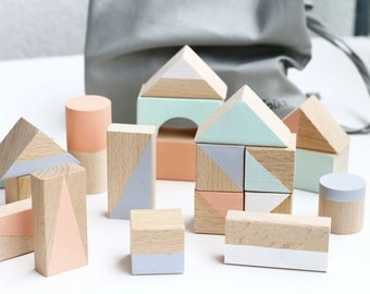 24 wooden blocks in Pastel colours packed in cotton bag-  Wooden toys - Gift for toddlers - Montessori toys  - Gender neutral gift