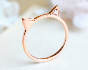 White Diamond Kitty Ring, Cat Ear Engagement Ring, Available in 14K Gold, 18K Gold, or Platinum, R4008