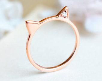 Solid Gold Cat Ring, Diamond Cat Ear Ring, 14K 18K Rose gold Kitten Ring, Whimsical Gift, Cat Jewelry, Pet Gift, Birthday Birthstone Gift
