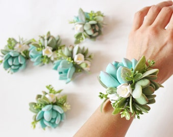 Succulent Corsage Bracelet Wedding flowers Mint Succulents Bridesmaid corsage Succulent wedding accessory Clay Flowers Beach themed wedding