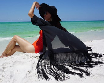 Beach cover up, kimono, coverup with Fringe, fringe kimono, swimsuite coverup, pure silk coverup, resort wear, must have for a Drama Queen