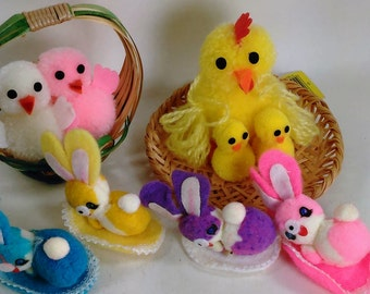 """Lot Of 6 Fuzzy""""Critters""""/Chicks, Hen And Rabbits/Great Decorations Or Additions To Your Crafting Projects  (D)"""