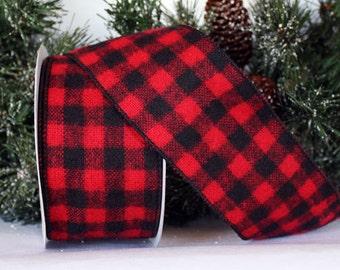 Buffalo Check Flannel Plaid Ribbon - WE - 2 Widths