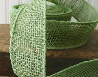 "SALE!! 2"" Green Burlap Wired Ribbon - Sold in 10 Yard Rolls"