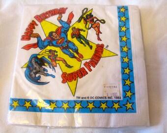 Vintage 80s Super Friends DC Comics Happy Birthday Napkins