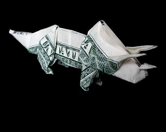 TRICERATOPS Money Origami Art Gift Dinosaur Made out of Real One Dollar Bill