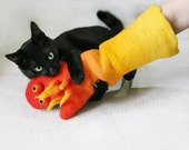 felted cat toy, cat toy, kitten play, cat lovers, cat lovers gift, OOAK, Eco friendly, red, orange, yellow, sheep wool, hand made