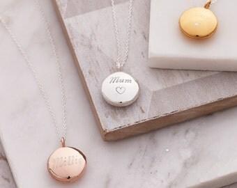 Circular Personalised Locket-opening locket-engraved locket-silver personalised locket-rose gold personalised locket-gold engraved locket