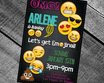 Emoji Birthday Digital Printable Invitation