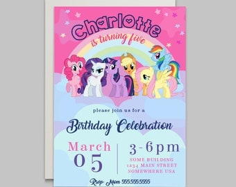 My Little Pony Invitation, My Little Pony Invite, My Little Pony Birthday, My Little Pony Party, Little Pony Party, Birthday printables