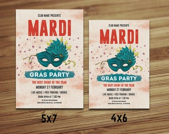 Mardi Gras Party Flyer Template | Mardi Gras poster, Mardi Gras Carnival Party Flyer | Photoshop & Elements Template | Instant download