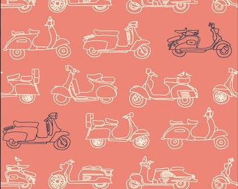 ON SALE  Mopeds Coral For Trans-Pacific Collection  Birch Organic Fabrics, Sustainable Low Impact Dye Cotton Fabric, Scooters Vespas