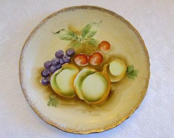Vintage Hand Painted Decorative Gold Trimmed Fruit Plate