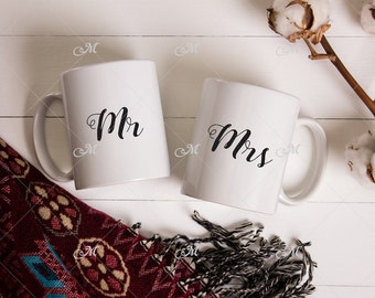 Two Mugs Cozy stock photo, Mockup. JPG only.
