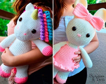 TWO CROCHET PATTERNS - Mimi the Friendly Unicorn and Laurie the Ballerina Bunny - 16 in./40 cm. Amigurumi Crochet Toy - Instant Pdf Download