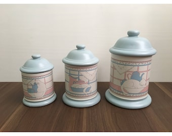 ON SALE House of Lloyd Canister Set • Adorable Cat Pattern • 1989