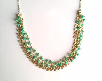 PAULETTE - gold and green jade NECKLACE