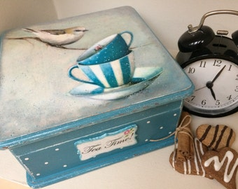 Tea box Turquoise tea box WoodenTea time box...Tea storage